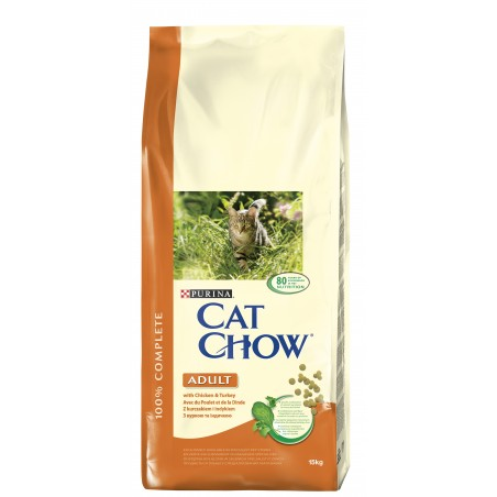 ALIMENT CHAT CAT CHOW ADULT POULET ET DINDE 15KG
