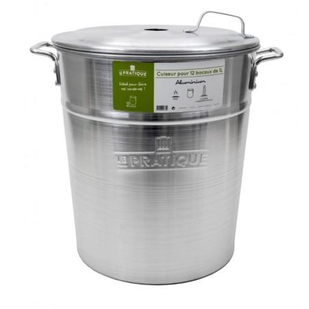 Stérilisateur en aluminium brossé 12 bocaux de 1 L