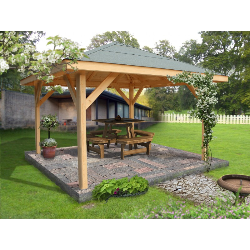 carport bois villaverde 3 5x3 5m poteau 120x120mm. Black Bedroom Furniture Sets. Home Design Ideas