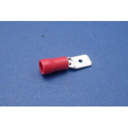COSSE PLATE MaLE 6 3MM ROUGE 10PCS