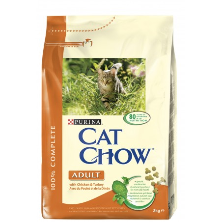 CROQUETTES CHAT CAT CHOW ADULT POULET ET DINDE 3KG PURINA
