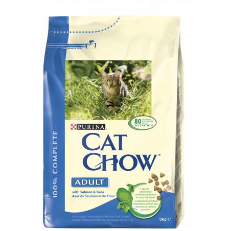 CROQUETTES CHAT CAT CHOW ADULT THON ET SAUMON 3KG PURINA