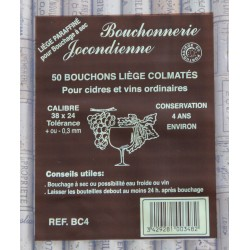 50 BOUCHONS CYLINDRIQUES 38/24 MM