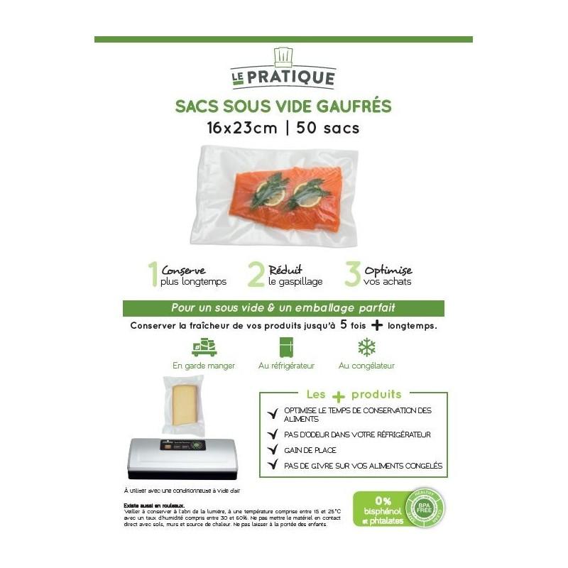 50 SACS SOUS VIDE GAUFRES 16X23CM
