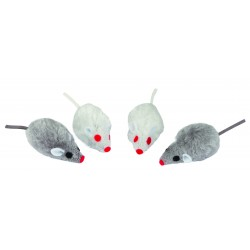 SOURIS GRIS/BLANC   CAT NIP  4 PCS.  5 CM