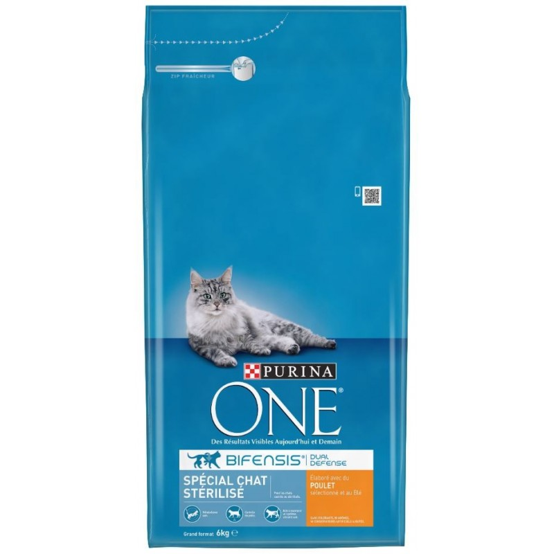 CROQUETTES CHAT ONE STERILISED POULET ET BLE 6KG PURINA
