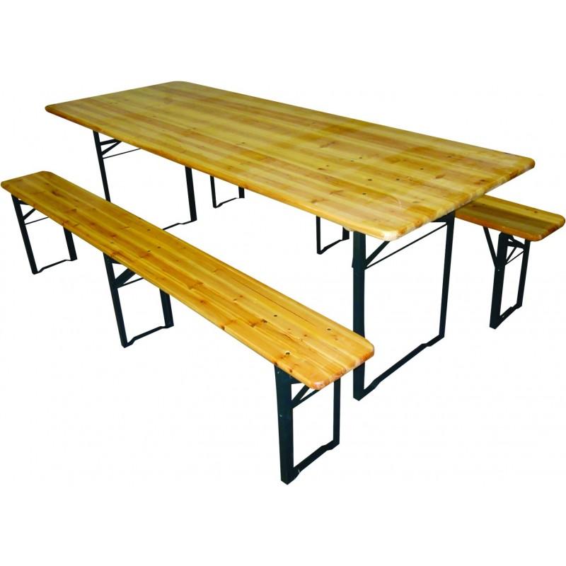 TABLE DE BANQUET + BANCS EPAISSEUR:3CM - Pole Vert EVREUX