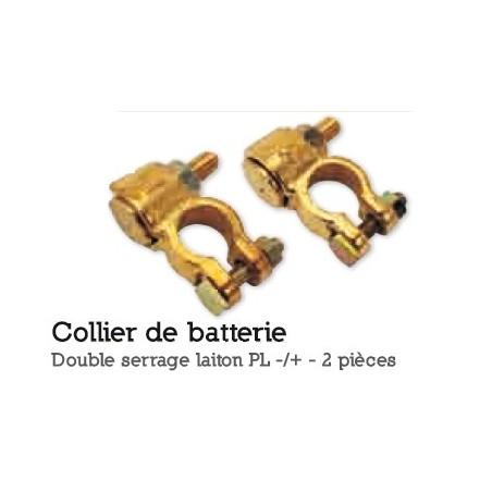 COLLIER DE BATTERIE DOUBLE SERRAGE LAITON  VL TOURISME DIESEL+/- 2 PIÈCES
