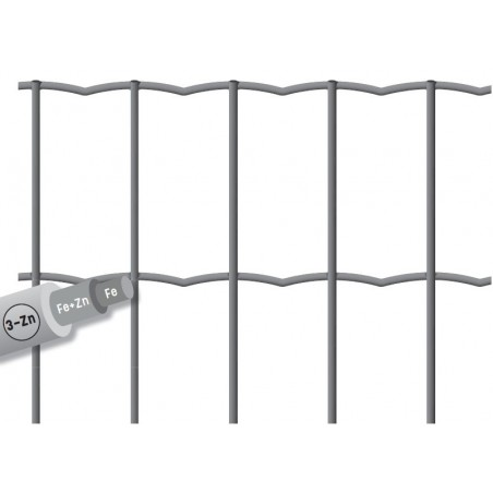 GRILL.SOUDE MAILLE 100X50 FIL 2.5H.1.50 25M GRIS