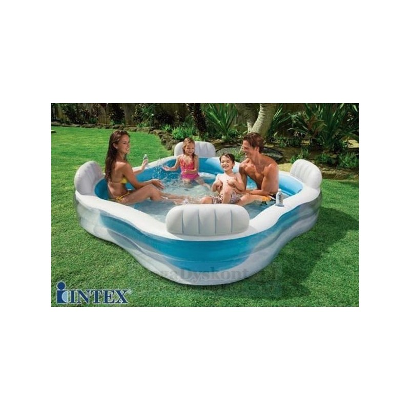 Piscine boudin carree 229x229x66cm 4 sieges 2 repose verre for Piscine a boudin