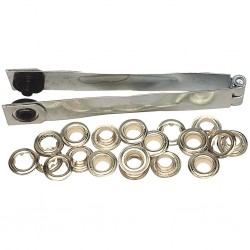 PINCE A OEILLET DE BACHE 165 mm à frapper en acier poli, livré avec œillets Ø 8 mm