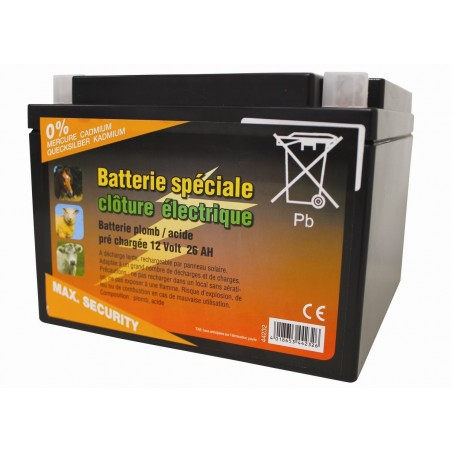 BATTERIE CLOTURE A DECHARGE LENTE 12V 26AH