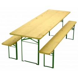 TABLE DE BANQUET + BANCS 200X70CM/200X25CM EP.25MM