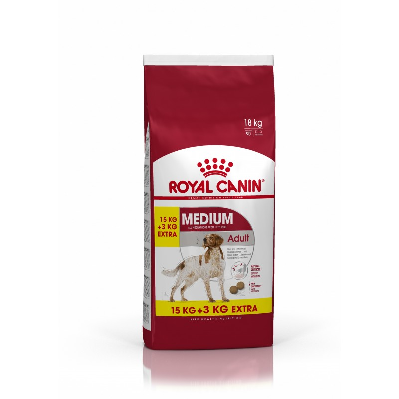 CROQUETTES CHIEN MEDIUM ADULT 15KG+3KG OFFERTS ROYAL CANIN