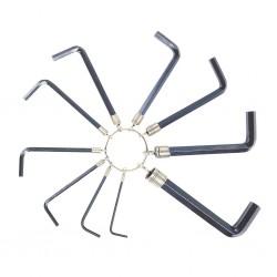 CLE MALE HEXAGONALE 10 pièces (de 2 à 10 mm) sur anneau métallique