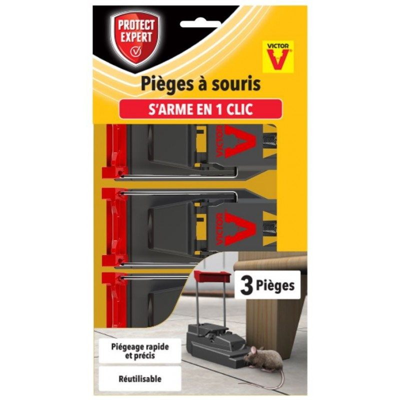 PIEGE A SOURIS TAPETTE PLASTIQUE X3
