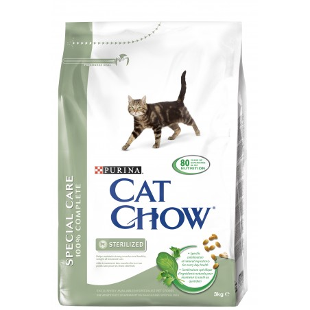 CROQUETTES CHAT CAT CHOW SPECIAL CARE STERILIZED 3KG PURINA